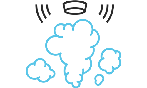 Illustration of smoke detection sounding alarm in the midst of smoke.